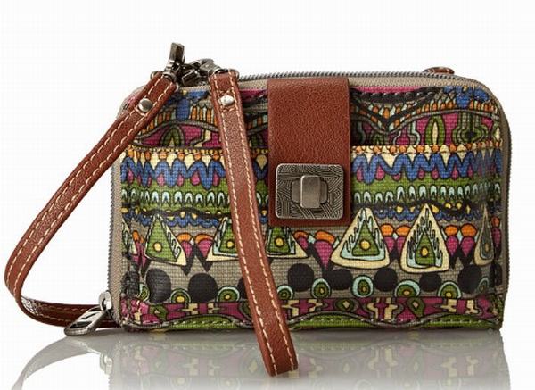Sakroots Smartphone Wristlet Wallet Crossbody Charcoal One World