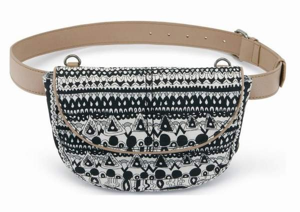 Sakroots Artist Circle Festi Belt Bag Crossbody Bag Black White One World