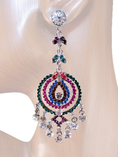 Glamour Girl 3.50 inch Crystal Chandelier Earrings Multi Color Silver