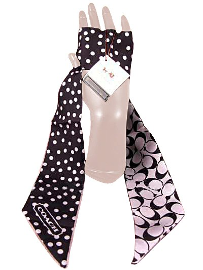 Coach 97173 Signature Dot Ponytail Scarf Black Gray
