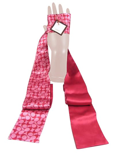 Coach 98282 6cm Long Skinny Ponytail Scarf Pink Rare