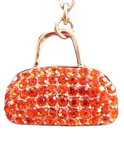 Purse Austrian Crystal Handbag Charm Keychain Pendant Orange
