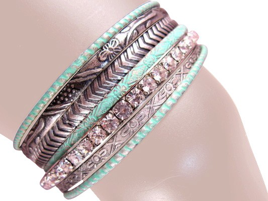 Charlotte Stacked Bangle Bracelets Turquois Antique Silver
