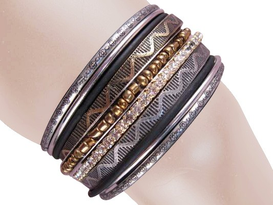 Milan Stacked Bangle Bracelets Clear Silver Bronze