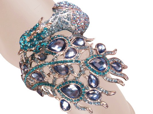 Awesome Peacock Crystal Bangle Blue Silver Free Organza Bag