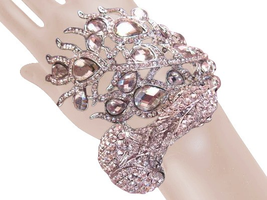 Awesome Peacock Crystal Bracelet Clear Silver Free Organza Bag