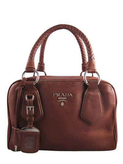 Prada Handbags | Prada Leather Boston Bag Satchel BL0265 Brown
