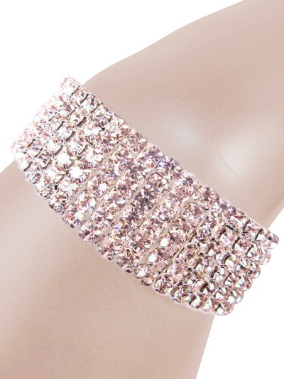 Glamorous Rows Crystal 6 Rows Stretch Bangle Bracelet Clear Silver