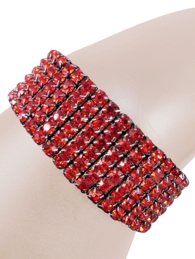 Glamorous Rows Crystal 6 Rows Stretch Bangle Bracelet Red Gun Metal
