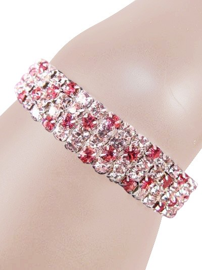 Glamorous Rows Crystal 4 Rows Stretch Bangle Clear Pink Silver