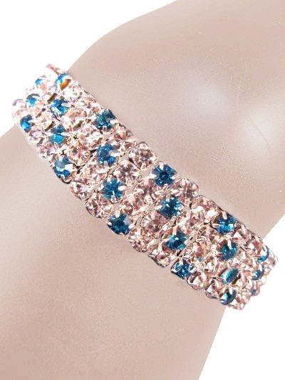 Glamorous Rows Crystal 4 Rows Stretch Bangle Clear