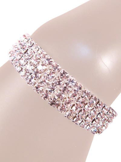 Glamorous Rows Crystal 4 Rows Stretch Bangle Clear Silver