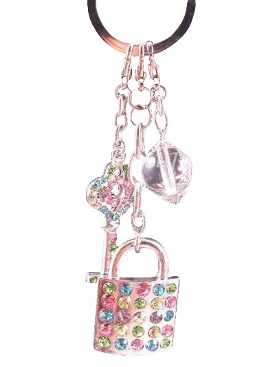 Key & Lock Austrian Crystal Handbag Charm Keychain Pendant Multi Color