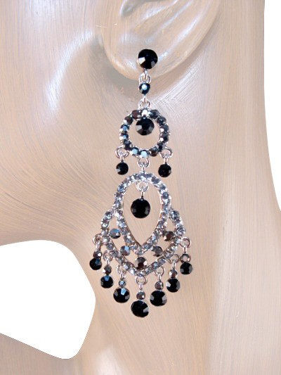 Chandelier earrings crystal earrings on discount lusso boutique classic sense 300 inch crystal chandelier earrings black gray silver mozeypictures Image collections