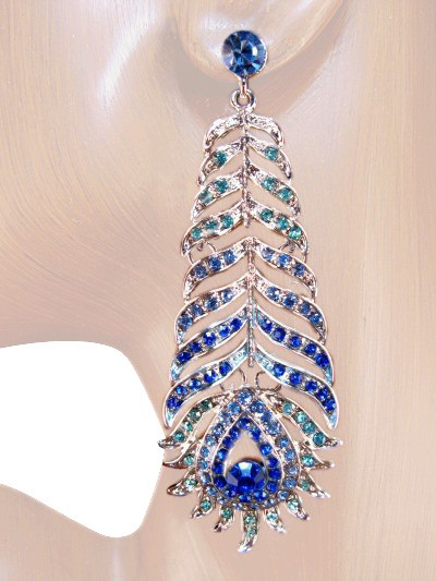 Opulence Beauty 3.50 inch Crystal Drop Earrings Blue Silver