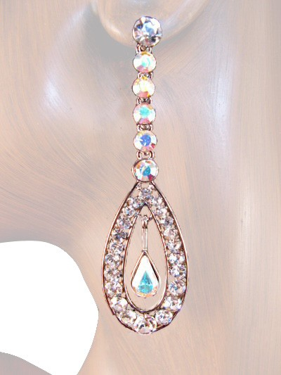Glorious Sparkle 2.75 inch Crystal Drop Earrings Clear Silver