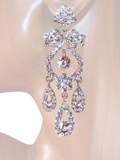 Drama Queen 3.25 inch Crystals Chandelier Earrings Clear Silver