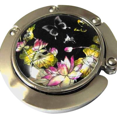 Iridescent Handbag Holder Purse Hook Waterlily Pond Butterflies