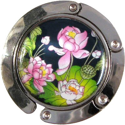 Iridescent Handbag Holder Purse Hook Waterlily Pond Multi Color