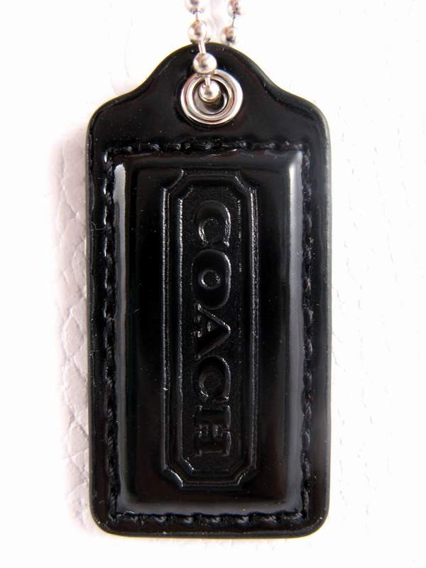 Coach Patent Leather Small Hang Tag lozenge Key Chain Black