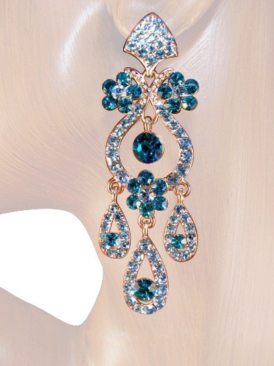 Drama Queen 3.25 inch Crystal Chandelier Earrings Teal Blue Silver