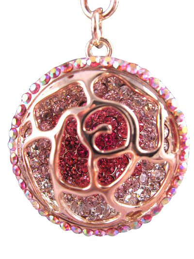 Scroll Circle Austrian Crystal Handbag Charm Keychain Pendant Multi Pink
