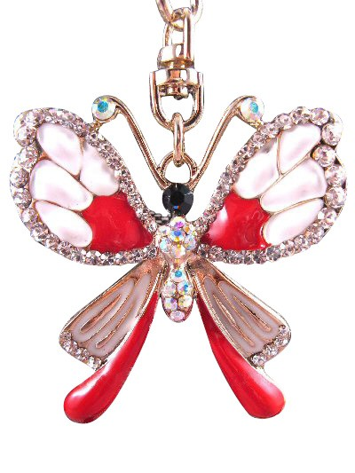 Butterfly Austrian Crystal Handbag Charm Keychain Pendant Red White