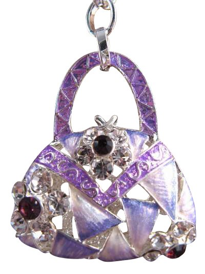 Flower Purse Austrian Crystals Handbag Charm Keychain Pendant Purple