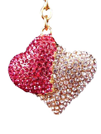 Heart to Heart Austrian Crystal Handbag Charm Keychain Pendant Red Clear