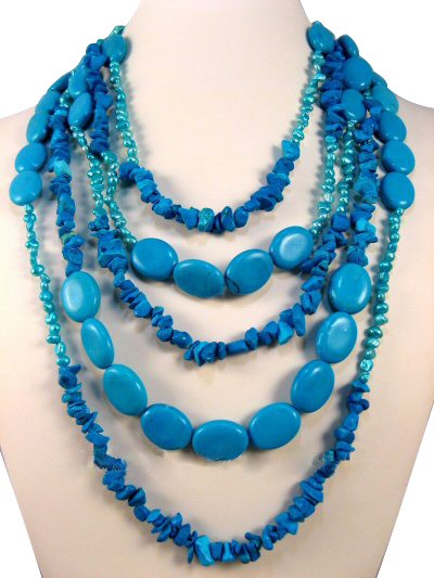 Turquoise Fresh Water Pearl Semi Precious Gemstone Necklace