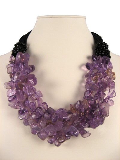 Ametrine Nuggets and Black Onyx Semi Precious Gemstone Necklace