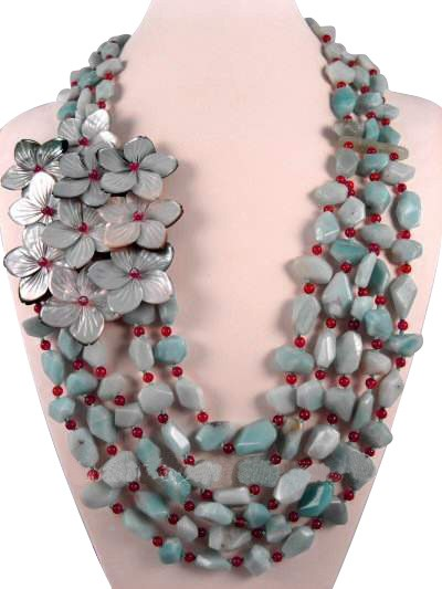 Amazonite Carnelian Shell Flower Semi Precious Gemstone Necklace