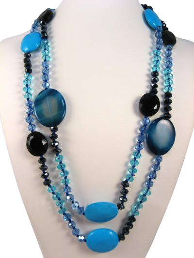 """52"""" Turquoise, Blue Agate & Crystals Semi Precious Gemstone Necklace"""