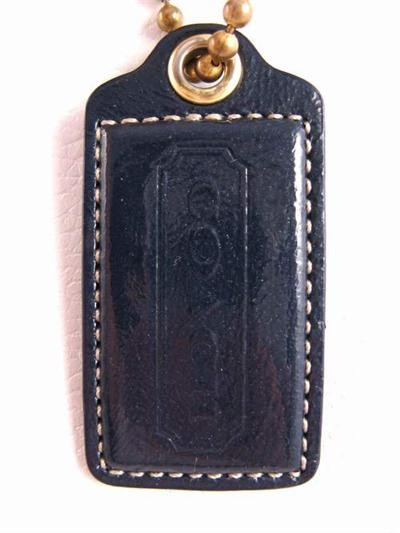 Coach Patent Leather Hang Tag lozenge Key Chain Navy