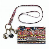Sakroots Artist Circle ID Lanyard Card Case Wallet Camel One World