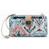 Sakroots Smartphone Large Wristlet Wallet Crossbody Turq Brave Beautiful