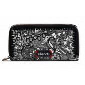 Sakroots Artist Circle Double Zip Wallet Black White Spirit Desert