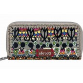 Sakroots Artist Circle Double Zip Wallet Charcoal One World