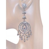 Glamour Girl 3.50 inch Crystal Chandelier Earrings Clear Silver