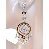 Glamour Girl 3.50 inch Crystal Chandelier Earrings Topaz Gold
