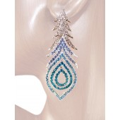 Peacock Fantasy 2 7/8 inch Crystals Drop Earrings Teal Blue Silver