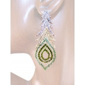 Peacock Fantasy 2 7/8 inch Crystals Drop Earrings Peridot Green Silver