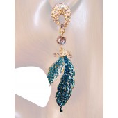 Divine Elegance 4.00 inch Crystals Earrings Teal Blue Gold