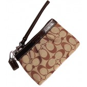 Coach 43434 Signature Pleated Wristlet Khaki Brown