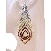 Peacock Fantasy 2 7/8 inch Crystal Drop Earrings Topaz Brown Gold