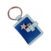 Coach 92404 Legacy Satin Picture Frame Keychain rare Teal Blue