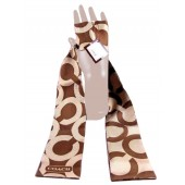 Coach 98586 Sequined Op Art Ponytail Scarf Brown