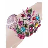 Awesome Factor Crystal Peacock Bangle Multi Color Free Organza Bag