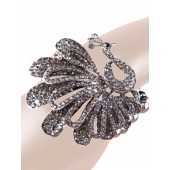 Bling Bling Peacock Crystal Bracelet Gray Silver Free Organza Bag