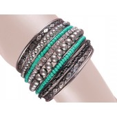 Vienna Stacked Bangle Bracelets Turquois Silver